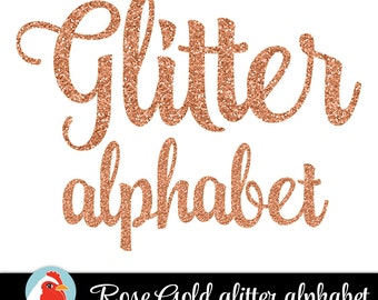 Rose Gold Glitter Alphabet