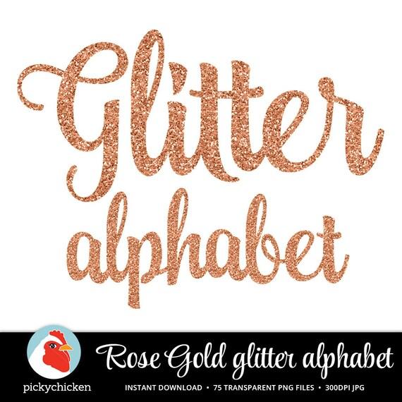 Rose Gold Glitter Alphabet - Rose Gold Alphabet - sparkly glitter script handwriting alphabet ...