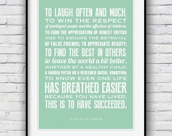 Ralph Waldo Emerson, Inspirational quote, Graduation gift, Inspirational print, quote prints, To laugh often