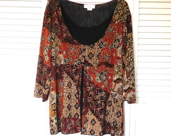 Hippie Boho Top Brown Black Rust Flower Print Size 1x