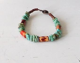 "Turquoise Bracelet, Wood Beads, 7"" Hippie, Sundance Style Bohemian Jewelry Cowgirl Rustic Jewelry Beaded Indie Folk Southwest Ethnic Tribal"