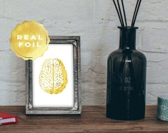 Brain Anatomy Print 4x6 - 5x7 - Gold Foil - Gold Leaf - Medical Student Gift - Medical Art - Medical Office Decor - Wall Art
