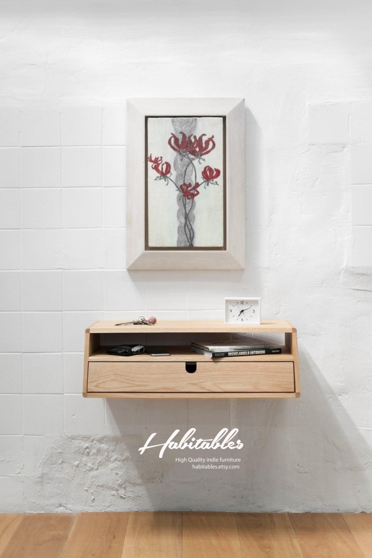 Indie Furniture Walnut Oak Wood Floating Console Hallway Table Entryway