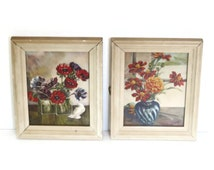 Pair Floral Litho Wall Framed Artwork, Small Prints
