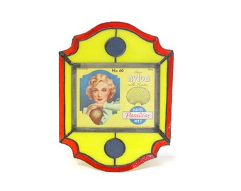 Advertising Sign for Paradise Hair Nets, Stained Glass Wall Plaque