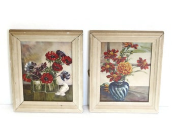 SALE Pair Floral Litho Wall Framed Artwork, Small Prints