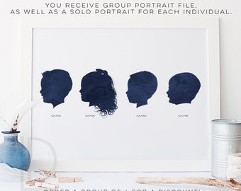 Child Silhouette - Group of 4 - Watercolor Silhouette - custom silhouette - family Silhouettes - DIGITAL PRINTABLE