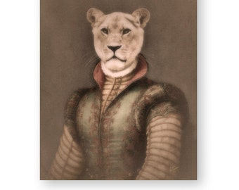 "Lion Art Print Lioness Animal Art Anthropomorphic Animals In Clothes Unique Gift Archival Fine Art Decor (3 sizes) ""Lea The Huntress"""