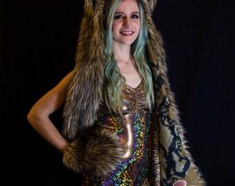 Heathen Hood - Wolf - Cat Ears & scarf - Burning Man Hat