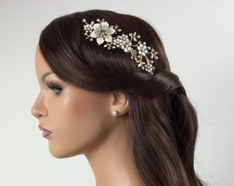 Gold bridal hair comb with clear crystal Swarovski rhinestones & Ivory Flower Comb in a Vintage style