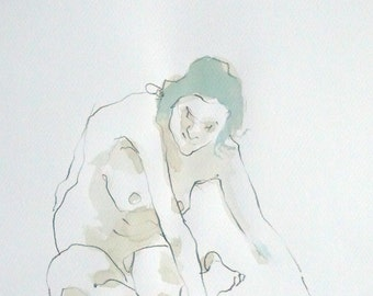 Naked woman Sketch front view. Sketch. Painting. Drawing. Watercolor. Art