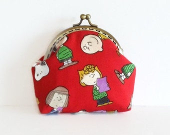 Snoopy Fabric Pouch, Peanuts Retro Frame Purse, Cartoon Coin Purse
