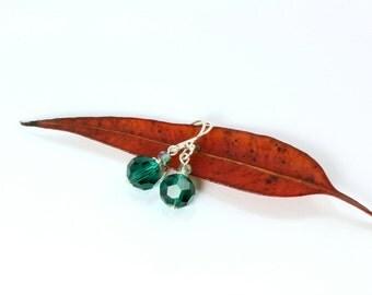 May Birthstone,Sterling Silver Earrings, Green Swarovski Crystal Earrings,  Emerald Swarovski Earrings, Emerald Earrings, Swarovski Crystal
