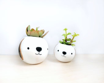 Dog ceramic plant pot made to order x 2, Face planter, Succulent planter, Ceramic animal planter, Ceramics & pottery, animal plant pot,
