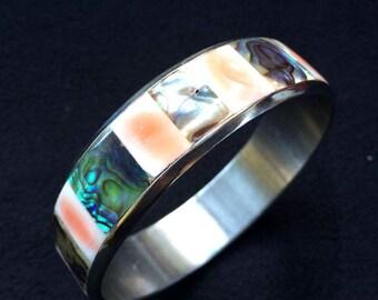vintage Abalone /shell silver bangle