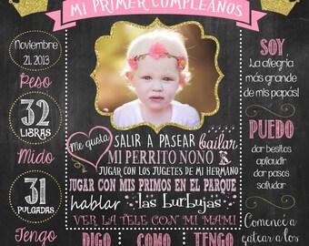 Mi primer cumpleaños poster, First Birthday Chalkboard Poster, Español, Spanish DIGITAL FILE