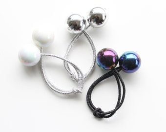 GLAM HAIR BOBBLES. Set of 3. Retro Hair Ties Bobbles. Black Pearl, White Pearl, Silver Mirror