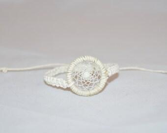 WHITE Macrame Hemp Dream Catcher Bracelet, white bead dream catcher Adjustable, Hemp Bracelet, Hemp Cords, Hemp Jewelry, Eco- Friendly