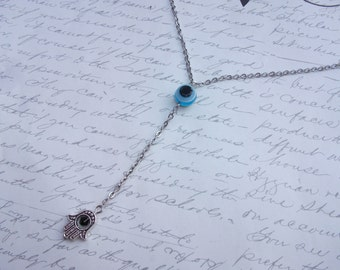 Evil eye protection lariat y shape necklace