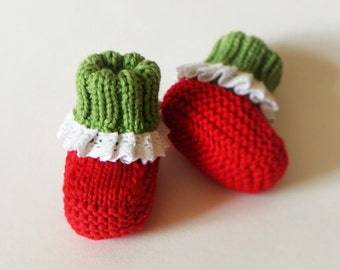 Strawberry booties baby slippers red baby girl socks strawberry socks MADE TO ORDER