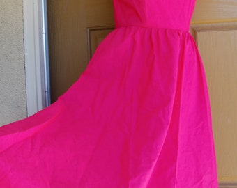 Vintage hot pink sun dress strapless summer dress size large Moonglow 1980s 80s midi sweetheart neckline open cutout back