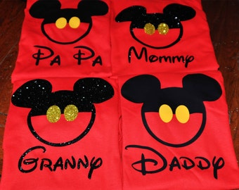 Disney Family Shirts/Matching Buttons for Everyone Shirts/Custom Mickey Mouse Inspired/Glitter option Available/Personalized