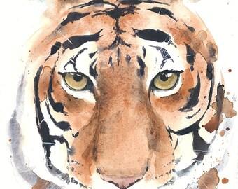 """Tiger head portrait watercolor painting 10x13""""(~25,4x33cm)"""