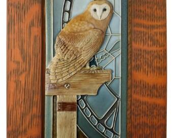 Framed relief art tile, Ceramic tile, animal art, owl, Barn Owl 4 x 8 inches, wall sculpture