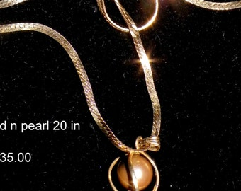 GOLD n PEARL NECKLACE  14K 135.00 20 inch cHAIN