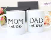 Personalized Mom and Dad Year Established Set, Ceramic mug, Mom and Dad mugs, New Parent Gift, coffee mug gift, tea mug gift, 11oz mug