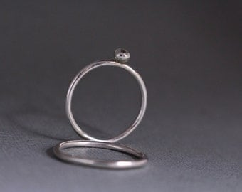 Sterling silver stacking rings.Set of 2.Buble ring.Hand made.Custom made.