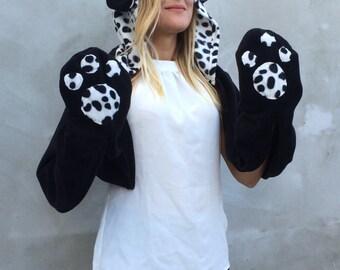 Dog Hooded Scarf, Dalmation Scarf,  Cosplay Hoodie, Animal Hooded Cowl, Kids Dog Scoodie, Halloween Hoodie Cowl, Cosplay Costume, Dog Ears