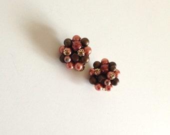 Vintage Cluster Pink Beaded Clip Back Earrings