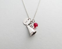 Cheerleading Megaphone Initial Necklace Personalized Hand Stamped - with Silver Megaphone Charm and Swarovski