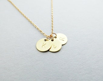 Couples Initial Satin Gold Hand Stamped Necklace - with Personalized Initial