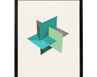 Icosahedron 2B. Retro wall art Geometric art print Mid century geometric art abstract geometric print mid century art mid-century LD10026