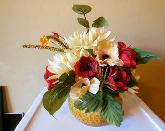 Round Ceramic Vase-Floral Arrangement-Fall-Flowers-Mums-Fall Leaves-Gift For Her-Thinking of You-Birthday