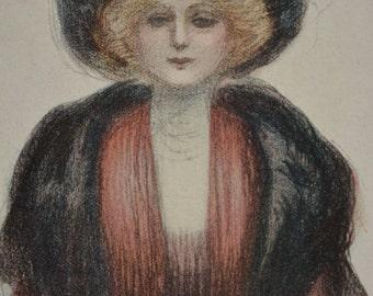 Antique Fashion Print, Fashion Drawing, Fashion Illustration, 1908 Fashion, Vintage Fashion Print