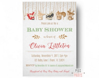 Woodland Baby Shower Invitation - Forest Animal Baby Shower Invites - Forest Friends Baby Shower - Baby Boy Woodland Invitation PRINTABLE
