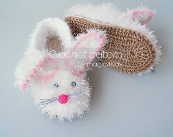 Crochet fluffy bunny slippers pattern, toddler crochet shoes with rope soles, crochet shoes for kids 1 yo- 10 yo,cord soles pattern included
