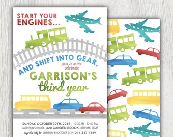 Printable transportation birthday invitation - Planes, trains and automobiles - Boy birthday invitation - Car birthday party - Customizable