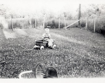 under watchful eyes ~ Vintage Photo ~ abstract feet view  ~ out of frame dad