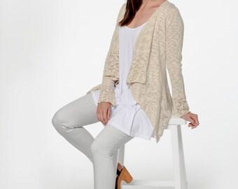 Organic Cotton Blend Waterfall Lace Cardigan