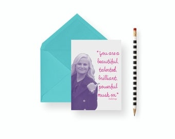 Funny Birthday Day Card Parks and Rec-You Are a Beautiful Musk Ox-  card- blank inside, birthday, wedding, graduation feminist encouragement