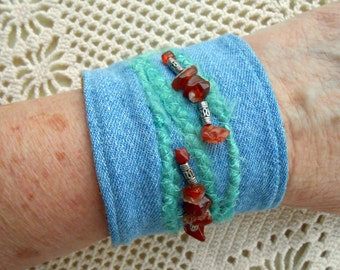 "Denim Bracelet w/ carnelian stones, MOP button & silver tone beads, denim cuff, stone wash jeans, upcyled vintage jewelry, for 6 to 7"" wrist"