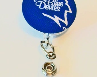 Fun Blue and White Home of the Blue Devils Inspired Fabric Button Retractable Badge Reel Clip