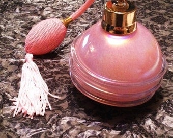 ON SALE - Vintage Hand Blown Pink Pearl Perfume Bottle with Atomizer Pink Tassle
