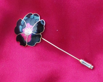 Vintage Enamelled Floral Stick Pin
