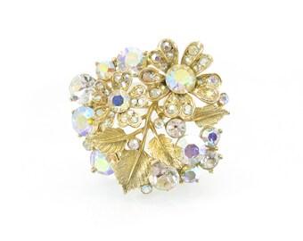 Vintage Rhinestone Flower Brooch, Aurora Borealis, Leaves, Gold Tone