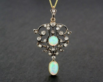 Art Nouveau Opal Pendant - Antique Victorian Opal & Diamond Pendant - Antique Art Nouveau Pendant